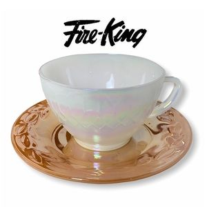 Fire King Peach Lustre Saucer & Moonglow Tea Cup